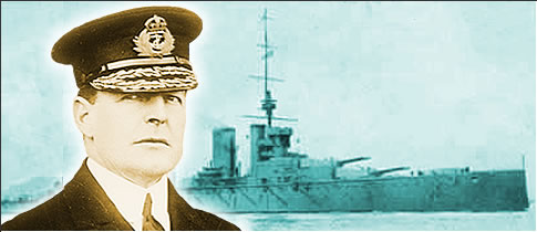Photograph of Admiral Sir David Beatty and his flagship, the battlecruiser HMS Lion.