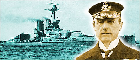 Photograph of Admiral Sir John Jellicoe and his flagship, the battleship HMS Iron Duke.