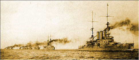 Warships of the German High Seas Fleet sail from their naval base at Wilhelmshaven.
