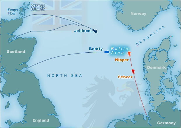 Map illustrating the Battle of Jutland battle area, showing the positions of the British Grand Fleet and German High Seas Fleet at 14.00 hours on 31st May 1916.